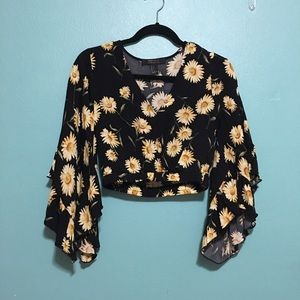 Forever 21 sunflower flared long sleeve crop top